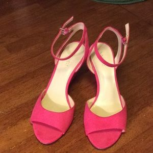 Hot pink strapped wedges size8